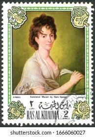 RAS AL KHAIMAH - CIRCA 1972: A stamp printed in Ras al Khaimah (UAE), depicts the portrait of Constanze Mozart, by Hans Hansen, wife of Wolfgang Amadeus Mozart, circa 1972