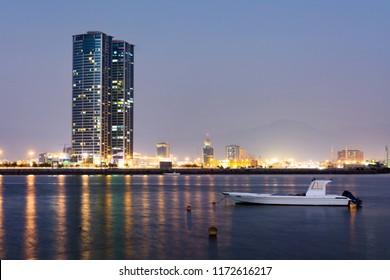 Ras Al Khaimah creek lake view at dusk, northern emirate of the UAE