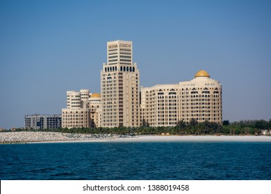 """Ras al Khaimah, RAK/United Arab Emirates - 5/3/2019: Waldorf Astoria in Ras al Khaimah, United Arab Emirates (UAE) with the sea and beach in view."""