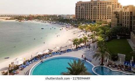 RAS al Khaimah. September 2018. The beach of the modern hotel DoubleTree by Hilton Resort & Spa Marjan Island.
