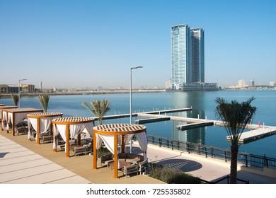 RAS AL KHAIMAH, UAE - SEP 30, 2017: Ras al Khaimah creek at morning.United Arab Emirates, Middle East