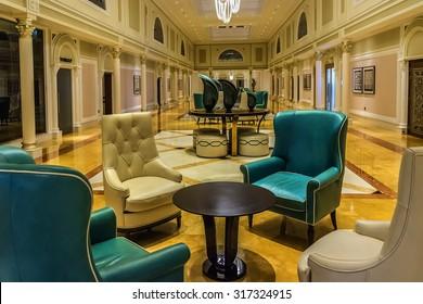 RAS Al KHAIMAH, UAE - SEPTEMBER 6, 2015: Interior of luxury 5 stars DoubleTree by Hilton Hotel Resort and Spa Marjan Island. RAK.