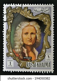 RAS AL-KHAIMAH - CIRCA 1970: a stamp printed in the Ras al-Khaimah shows Antonio Lucio Vivaldi, circa 1970
