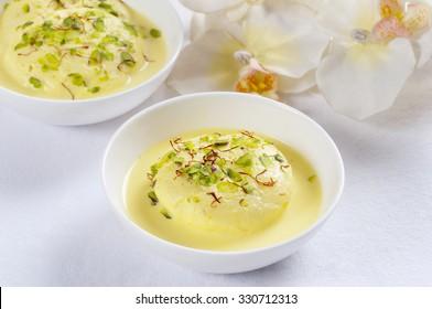 Ras malai in a bowl