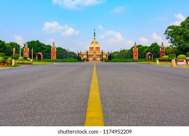 "The Rashtrapati Bhavan ""Presidential Residence"" previously ""Viceroy's House"" designed by Edwin Lutyens is official home of the president located at the Western end of Rajpath in New Delhi, India."