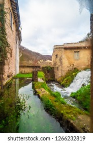 "Rasiglia, Italy - 23 December 2018 - A very little stone town in the heart of Umbria region, named ""Village of streams"" for the torrent and waterfalls that cross the historical center."