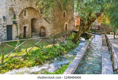 Rasiglia, small village near Foligno, province of Perugia. Umbria, Italy.