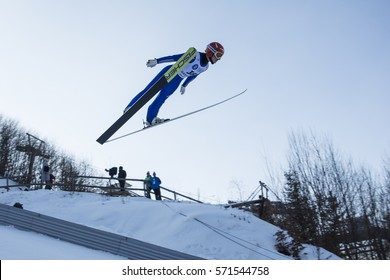 Rasnov, Romania -  January 29: Unknown ski jumper competes in the FIS Ski Jumping World Cup Ladies on 27th to 29th of January 2017 in Rasnov, Romania
