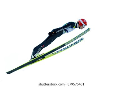 Rasnov, Romania - March 1: Unknown ski jumper competes in the FIS Ski Jumping World Cup Ladies on March 1, 2014 in Rasnov, Romania