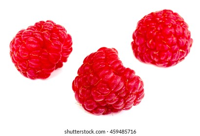 Raspberries. Berries from different angles and with different depth of field.