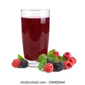 Raspberries and blackberries juice and fresh berries on white background