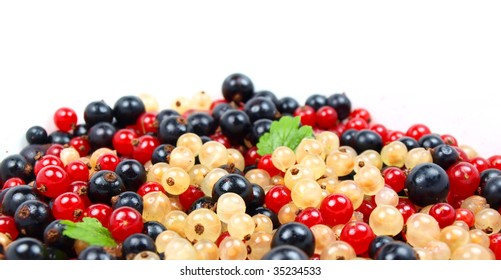 Raspberries and currant background