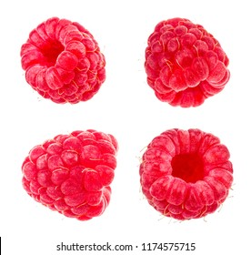 Raspberries. Fresh raw berries isolated on white background. With clipping path. Collection.