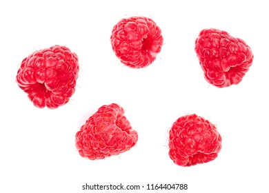 raspberries isolated on white background. Top view. Flat lay pattern