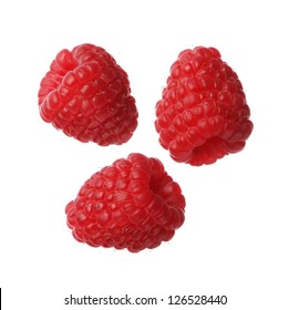 Raspberries isolated on white background, close-up