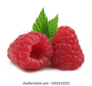 Raspberries isolated on white. Macro.