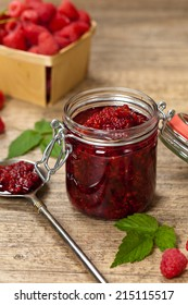 Raspberries jam. Selective focus.