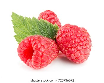 raspberries with leaf isolated on white background macro