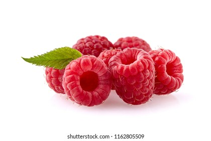 Raspberries with  leaf on white background