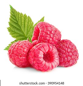 Raspberries with leaves close-up isolated on white background.