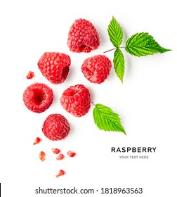 Raspberries and leaves creative layout isolated on white background. Healthy food and dieting concept. Summer raspberry fruits composition. Top view, flat lay, copy space