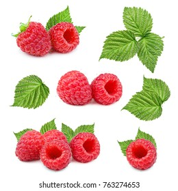 Raspberries and leaves isolated on white background. Collection.