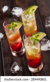 Raspberries lemonchello shots with ice and lime