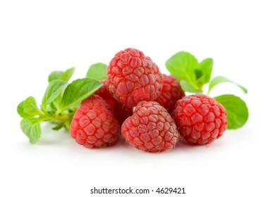 raspberries and mint