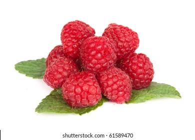 Raspberries on mint