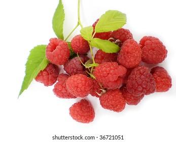 raspberries on white