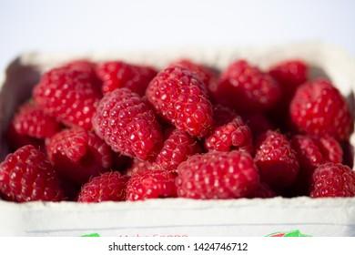 Raspberries on white background, macro. dessert