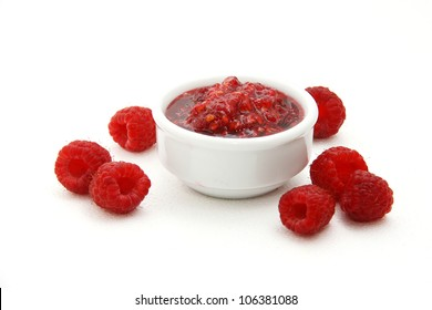 Raspberries and raspberry jam