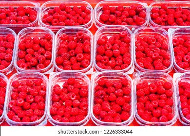 Raspberries for sale in plastic trays in a market in Stockholm, Sweden, Europe
