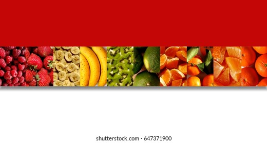 Raspberries, strawberries, banana slices, bananas, kiwi pieces, limes, tangerines, mandarins, orange and mandarin pieces, inside ten vertical rectangles placed in a row with shadow underneath