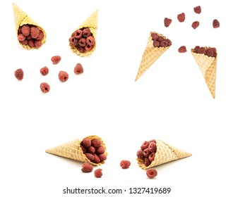 Raspberries in Waffle Cones isolated on white background
