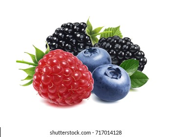 Raspberry, blackberry, blueberry, berries mix isolated on white background