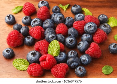 Raspberry and blueberries