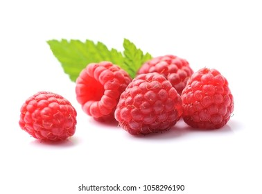 Raspberry closeup on white backgrounds.