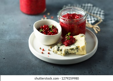 Raspberry cranberry chutney with blue cheese