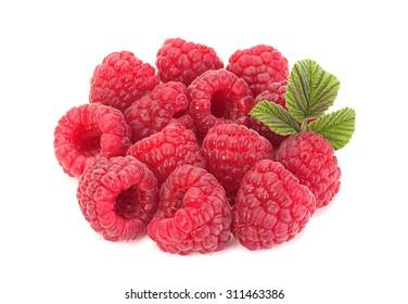 Raspberry fruit closeup isolated on white