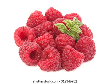 Raspberry fruit closeup isolated on white