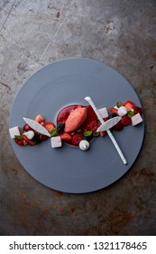 Raspberry ice cream with marsmallows