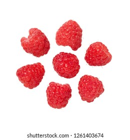 Raspberry isolated on white background. Fresh ripe raspberries. Collection.