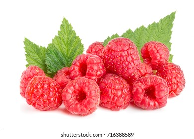 Raspberry isolated on white background. Pile or heap
