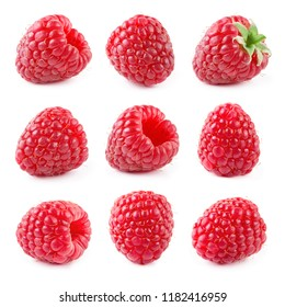 Raspberry isolated. Raspberry on white. Raspberries. Collection.