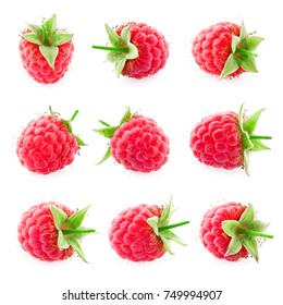 Raspberry isolated. Raspberry on white. Raspberries. Top view. Collection.