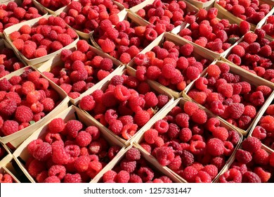 A lot of raspberry at market place