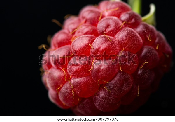 Raspberry on the black background
