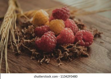 Raspberry on wood