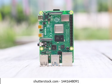 Close-up of raspberry pi 4 with natural light at outdoor